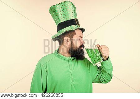 Drinking Beer Part Of Celebration. Irish Pub. Alcohol Consumption Integral Part Saint Patricks Day.