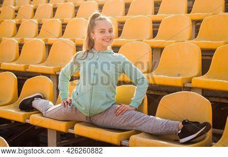 Gymnastics, Flexible Choice. Flexible Teen Gymnast Do Splits. Gymnastic Training. Gymnastic Activity