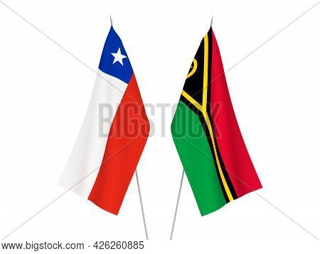 National Fabric Flags Of Chile And Republic Of Vanuatu Isolated On White Background. 3d Rendering Il