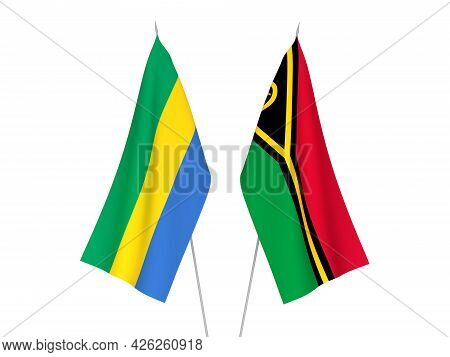 National Fabric Flags Of Gabon And Republic Of Vanuatu Isolated On White Background. 3d Rendering Il