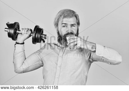 Exercise In Gym. Milk Good Nutrients. Amount Of Fat. Vitamins For Muscles. Sportsman Hold Dumbbell A
