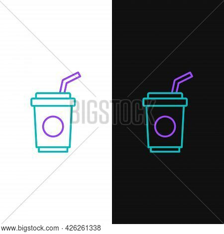 Line Paper Glass With Drinking Straw And Water Icon Isolated On White And Black Background. Soda Dri