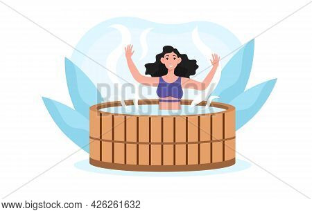 Young Smiling Female Character Sitting In Wooden Bath Taking Sauna And Spa Water Procedure. Concept