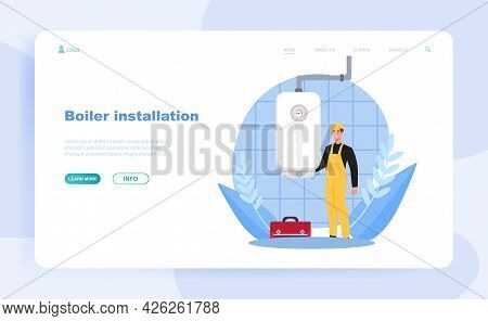 Smiling Male Plumber In Overall Is Installing Water Heater Or Boiler. Home Repair, Maintenance And P