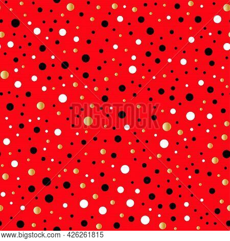 Happy Valentine's Day. Funny Seamless Pattern With Gold, Black, White Dots And A Bright Red Backgrou