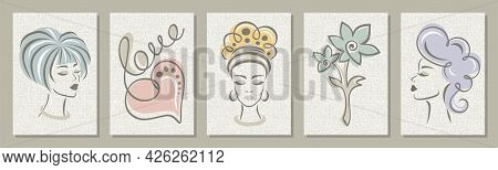 Set Of Five Abstract Posters. Women's Faces, Heart, Flower On Linen Canvas. Pastel Calm Colors, Beig
