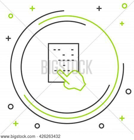 Line Braille Icon Isolated On White Background. Finger Drives On Points. Writing Signs System For Bl