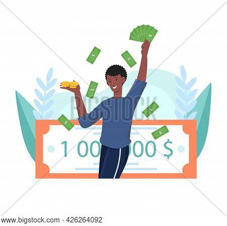 Happy Male Lottery Winner Is Holding Million Dollars. Smiling Man Hold A Million Dollar Winning Lott