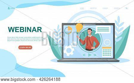Smiling Male Tutuor Teaching Online On Webinar. Concept Of Webinar, Web Seminars And Peer-level Meet