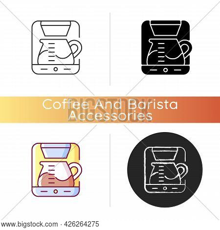Drip Machine Icon. Professional Coffee Maker For Restaurant. Automatic Cafe Appliance For Espresso P