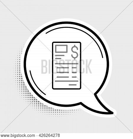 Line Paper Or Financial Check Icon Isolated On Grey Background. Paper Print Check, Shop Receipt Or B