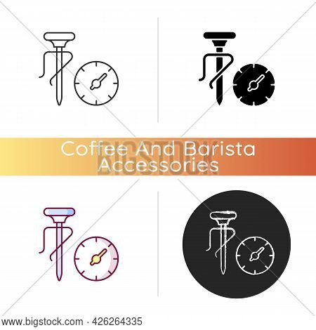 Milk Thermometer Icon. Professional Tool For Measuring Food And Drink Temperature. Coffee Making Ute