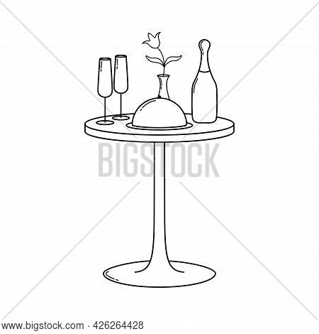 Table For A Festive Dinner. Valentine's Day. Declaration Of Love. Vector Hand Drawn Illustration. Fo