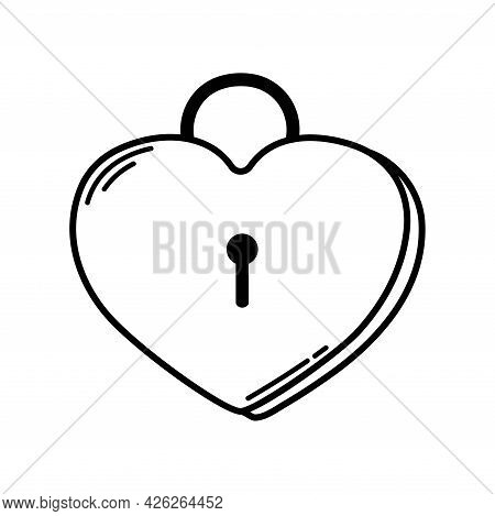 Heart-shaped Lock. Valentine's Day. Declaration Of Love. Vector Hand Drawn Illustration. For Greetin