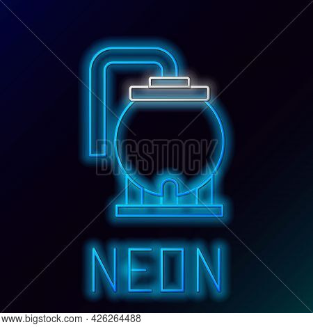 Glowing Neon Line Oil Tank Storage Icon Isolated On Black Background. Vessel Tank For Oil And Gas In