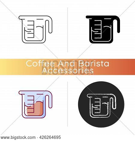 Coffee Measuring Cup Icon. Beaker With Drink. Kitchen Utensil For Espresso Preparation. Professional