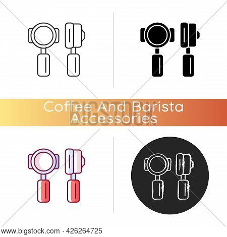 Portafilter Icon. Professional Tool For Cafe. Commercial Utensil For Espresso Preparation In Coffee