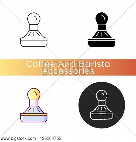 Coffee Tamper Icon. Equipment For Professional Espresso Preparation. Stainless Steel Utensil For Cof