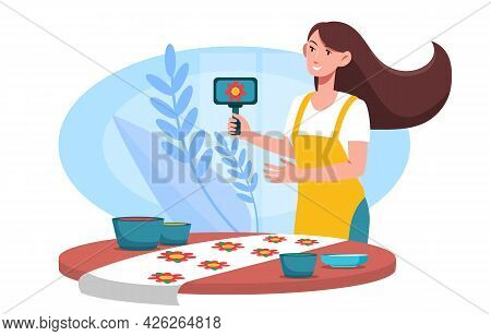 Smiling Female Character Is Printing Floral Pattern On Fabric Using Woodblocks And Paint. Cute Young