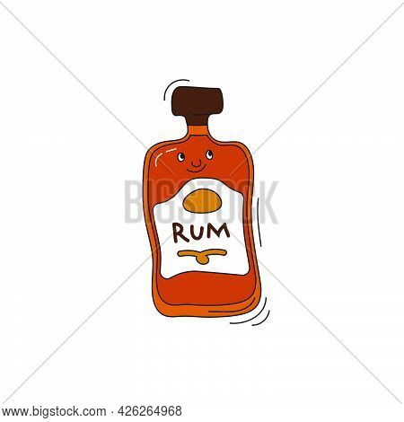 Rum Bottle With Face Smile On White Background. Cartoon Sketch Graphic Design. Doodle Character With