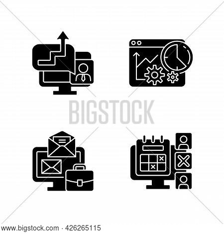 Work Trackers Black Glyph Icons Set On White Space. Time Management Strategy. Employee Absence Marke