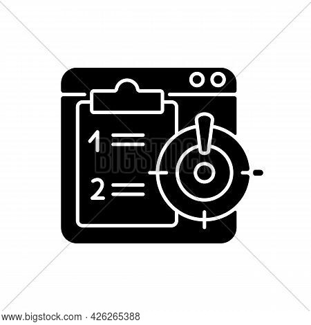 Priority Task Black Glyph Icon. Online Reminder For Important Corporate Project. Checklist For Busin