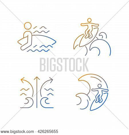 Riding Wave Using Board Gradient Linear Vector Icons Set. Entering Water. Floater Technique. Rip Cur