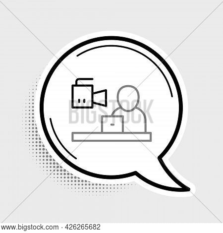 Line Breaking News Icon Isolated On Grey Background. News On Television. News Anchor Broadcasting. M