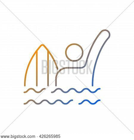 Emergency Signal For Drowning Gradient Linear Vector Icon. Waving Arm Above Head. Surfer In Dangerou