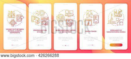 Digital Twin Characteristics Onboarding Mobile App Page Screen. Digitalization Walkthrough 5 Steps G