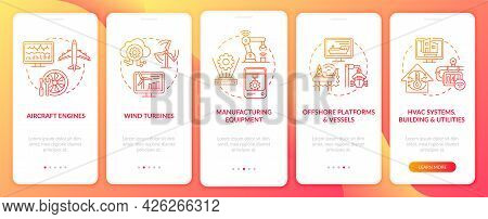 Digital Twin Application Onboarding Mobile App Page Screen. Manufacturing Equipment Walkthrough 5 St