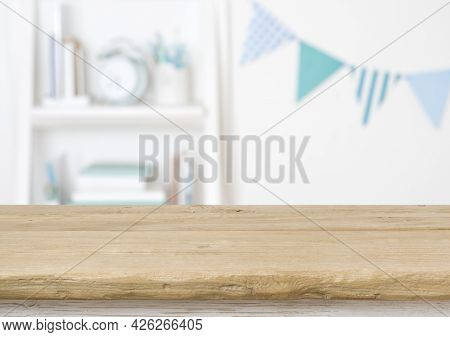 Wooden Surface For Product Display On Blurred Room Of Schoolchild