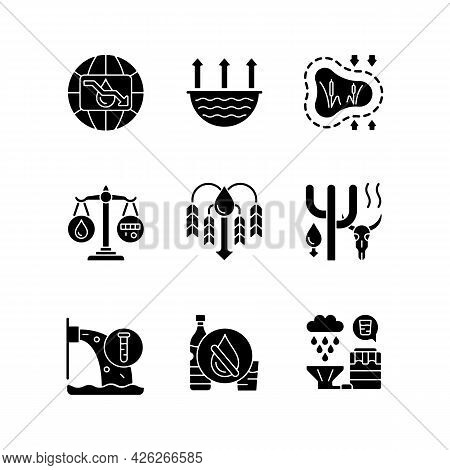 Water Resources Lacking Black Glyph Icons Set On White Space. Water Scarcity. Evaporation. Disappear