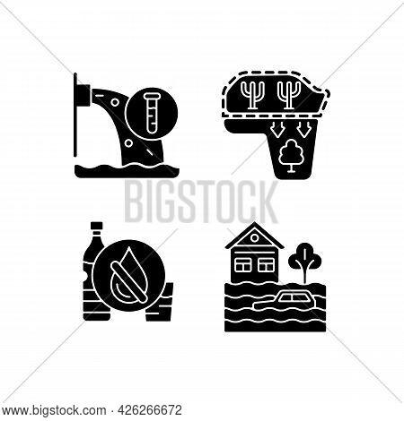 Water Stress Black Glyph Icons Set On White Space. Desert Expansion. Urban Runoff Management. Lackin
