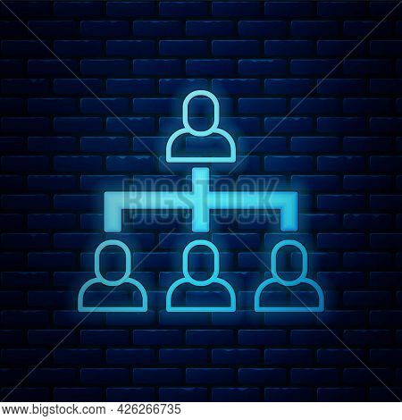 Glowing Neon Business Hierarchy Organogram Chart Infographics Icon Isolated On Brick Wall Background
