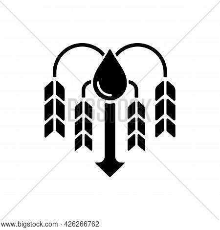Crop Shortage Due To Water Resources Lack Black Glyph Icon. Growing Water Scarcity. Lacking Enough R