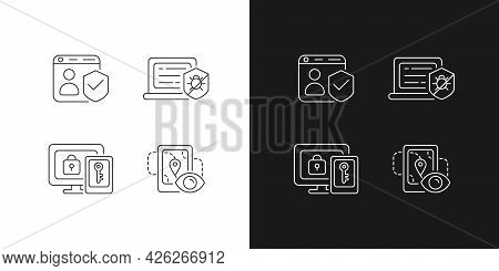 Protecting Right To Online Privacy Linear Icons Set For Dark And Light Mode. Securing Accounts. Anti