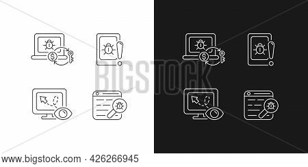 Internet Censorship Linear Icons Set For Dark And Light Mode. Ransomware. Cell Phone Bugging. Web Bu