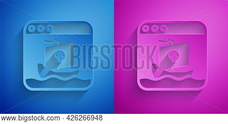 Paper Cut Internet Piracy Icon Isolated On Blue And Purple Background. Online Piracy. Cyberspace Cri