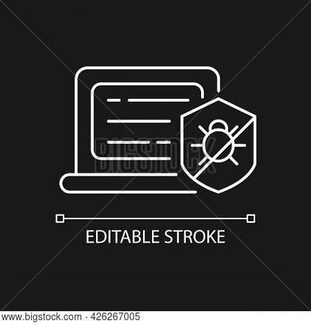 Antivirus Software White Linear Icon For Dark Theme. Anti-malware. Digital Virus Detection, Removal.