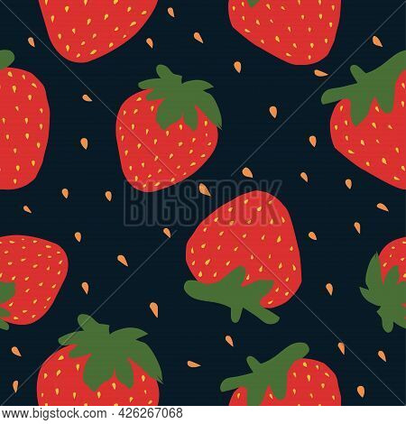 Vector Seamless Strawberry Doodle Style Pattern On Dark Background, Fresh Fruit - Healthy Food. Stra
