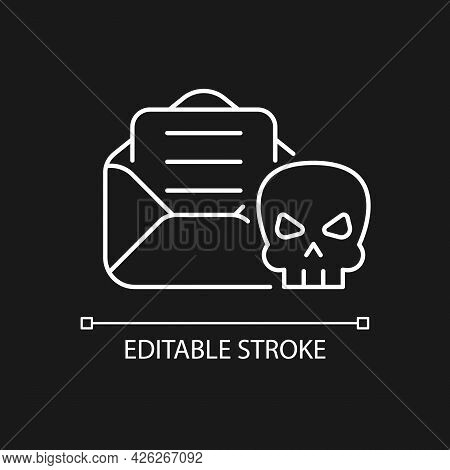 Email Phishing White Linear Icon For Dark Theme. Cyber Attack By Sending Malicious Email. Thin Line