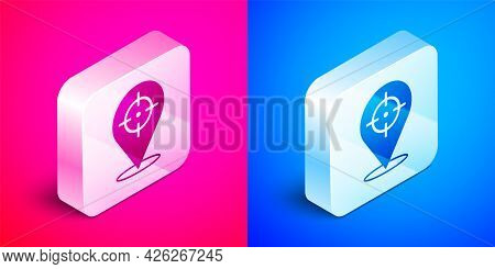 Isometric Target Financial Goal Concept Icon Isolated On Pink And Blue Background. Symbolic Goals Ac