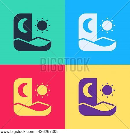 Pop Art Ramadan Fasting Icon Isolated On Color Background. Fast Day And Night. Religious Fasting. Ve