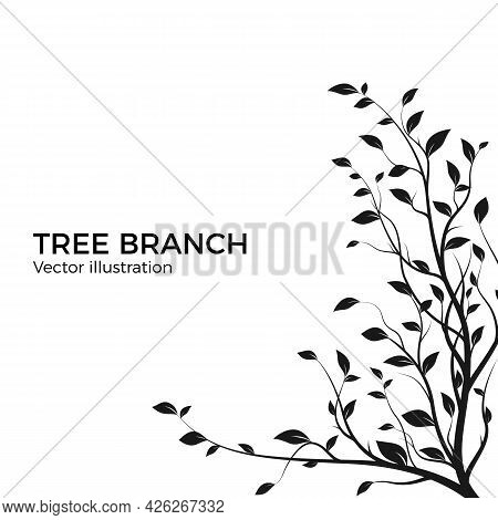 Silhouette Tree Branch With A Lot Of Leaves. Bush Silhouette Isolated On White Background. Decoratio