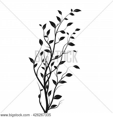 Silhouette Tree Branch. Bush Silhouette Isolated On White Background With A Lot Of Leaves. Vector Il