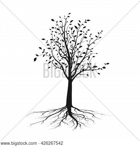 Black Tree Silhouette With Leaves And Root. Ecology And Nature Concept. Vector Illustration Isolated