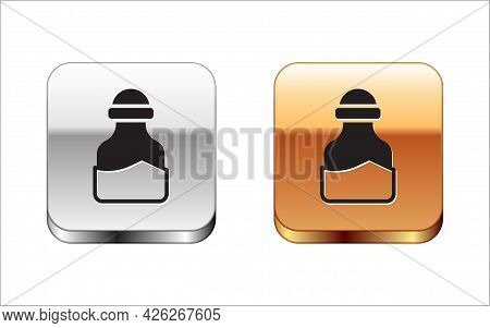 Black In Can Icon Isolated On White Background. Seasoning Collection. , Condiments In A Glass Can. S