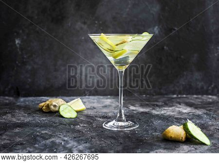 Summer Cooling Drink With Fresh Cucumber, Lemon And Ginger. Drink In A Beautiful Glass. Summer Drink