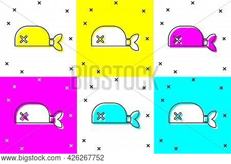 Set Pirate Bandana For Head Icon Isolated On Color Background. Vector
